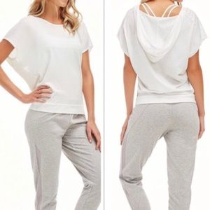 Fabletics White Love Hooded Tee Small